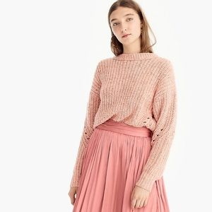 POINT SUR wool blend chunky rib knit crewneck pullover sweater pink size medium